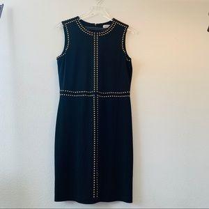 Calvin Klein black sheath dress.